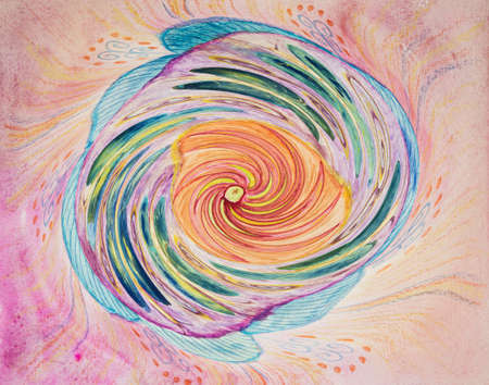 Abstract tornado in a mandala. The dabbing technique near the edges gives a soft focus effect due to the altered surface roughness of the paper. Reklamní fotografie