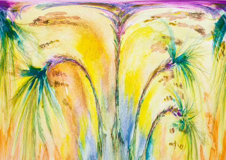 Four palm trees with dates in stormy weather. The dabbing technique near the edges gives a soft focus effect due to the altered surface roughness of the paper.