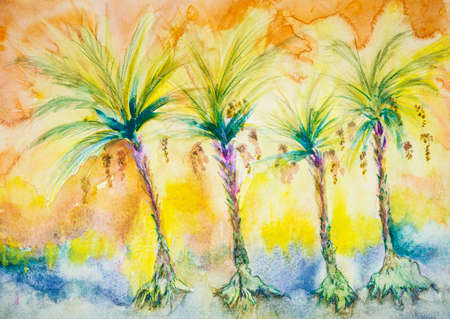 Four palm trees with dates. The dabbing technique near the edges gives a soft focus effect due to the altered surface roughness of the paper.