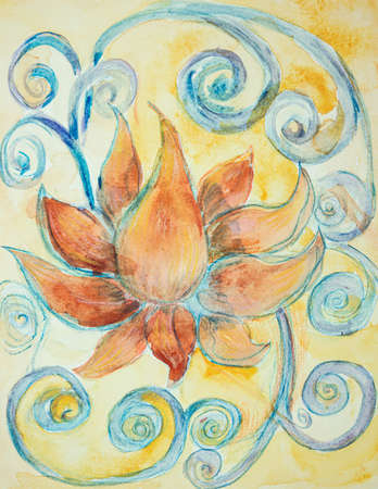 The sacred lotus flower with curly decoration. The dabbing technique near the edges gives a soft focus effect due to the altered surface roughness of the paper.