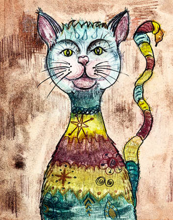 Colored drawing of the rainbow pussycat. The dabbing technique near the edges gives a soft focus effect due to the altered surface roughness of the paper. Reklamní fotografie