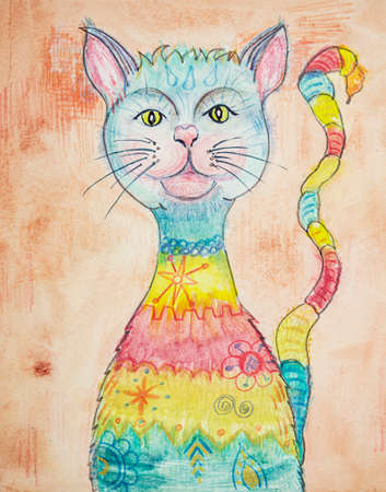 The rainbow pussycat. The dabbing technique near the edges gives a soft focus effect due to the altered surface roughness of the paper. Reklamní fotografie