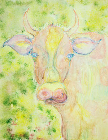 Colorful cow in the field. The dabbing technique near the edges gives a soft focus effect due to the altered surface roughness of the paper.