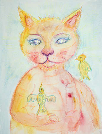 The pussycat and the birds. The dabbing technique near the edges gives a soft focus effect due to the altered surface roughness of the paper.