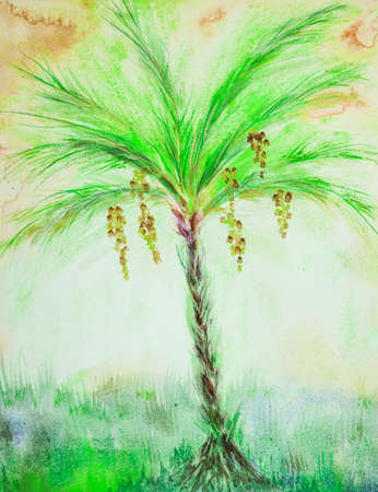 Bright green palm tree with dates. The dabbing technique near the edges gives a soft focus effect due to the altered surface roughness of the paper.