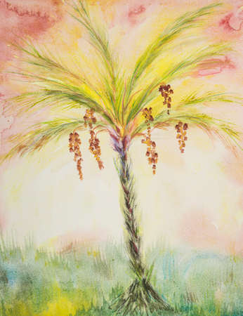 Sunny dates palm tree. The dabbing technique near the edges gives a soft focus effect due to the altered surface roughness of the paper. Reklamní fotografie