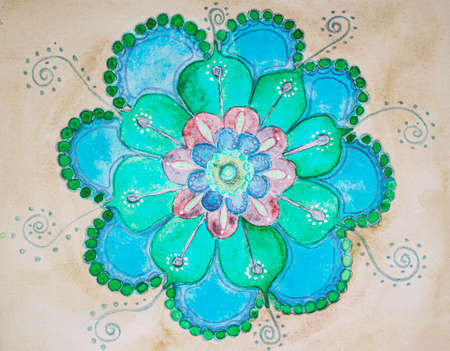 Green and blue flower mandala. The dabbing technique near the edges gives a soft focus effect due to the altered surface roughness of the paper.