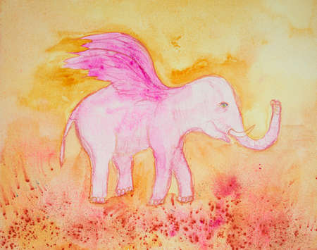 Pink elephant with wings on an orange background. The dabbing technique near the edges gives a soft focus effect due to the altered surface roughness of the paper.