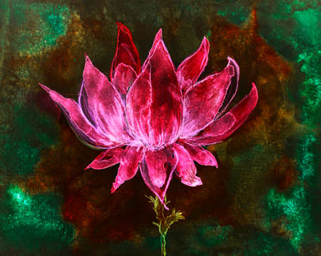 Bright red lotus flower on a golden and green background. The dabbing technique near the edges gives a soft focus effect due to the altered surface roughness of the paper.