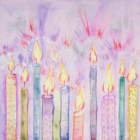Shining candles on a lavender background. The dabbing technique near the edges gives a soft focus effect due to the altered surface roughness of the paper.