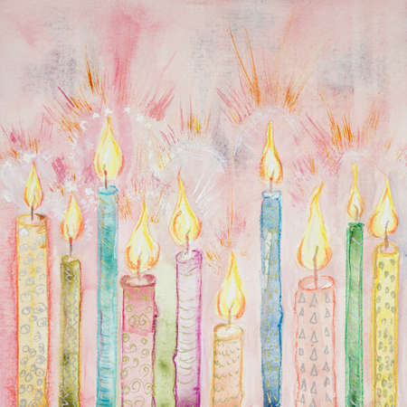Row of bright shining candles. The dabbing technique near the edges gives a soft focus effect due to the altered surface roughness of the paper. Reklamní fotografie