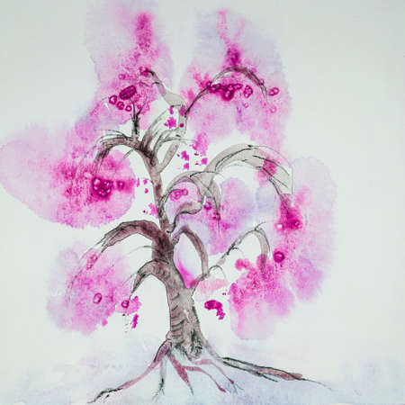 Minimalistic Chinese pink tree. The dabbing technique near the edges gives a soft focus effect due to the altered surface roughness of the paper.