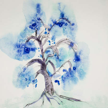 Minimalistic Chinese blue tree. The dabbing technique near the edges gives a soft focus effect due to the altered surface roughness of the paper.