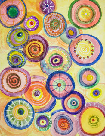 Whimsical colorful abstract circles . The dabbing technique near the edges gives a soft focus effect due to the altered surface roughness of the paper.
