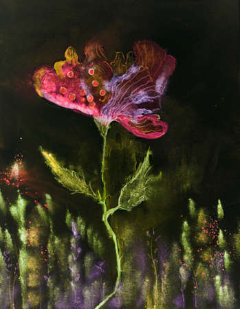 Whimsical poppy with dark background. The dabbing technique near the edges gives a soft focus effect due to the altered surface roughness of the paper.
