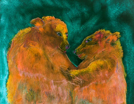 Two bears in psychedelic environment. The dabbing technique near the edges gives a soft focus effect due to the altered surface roughness of the paper.