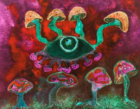 Psychedelic red mushrooms trip. The dabbing technique near the edges gives a soft focus effect due to the altered surface roughness of the paper.