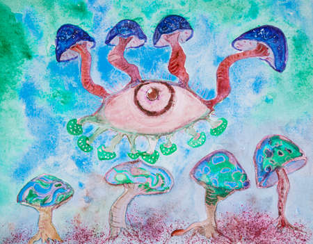Blue mushrooms in psychedelia. The dabbing technique near the edges gives a soft focus effect due to the altered surface roughness of the paper. Reklamní fotografie