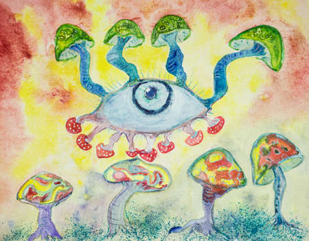 The trippy third eye. The dabbing technique near the edges gives a soft focus effect due to the altered surface roughness of the paper.