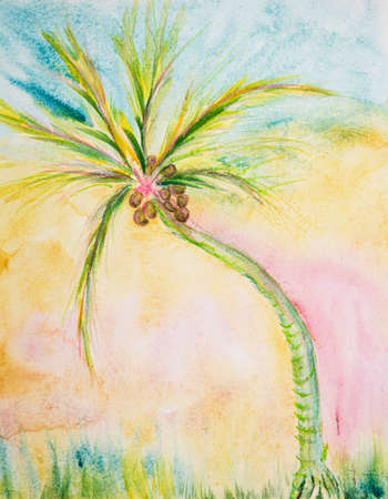 Coconut palm tree with rainbow background. The dabbing technique near the edges gives a soft focus effect due to the altered surface roughness of the paper.