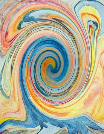 Psychedelic river flowing into a black hole. The dabbing technique near the edges gives a soft focus effect due to the altered surface roughness of the paper.