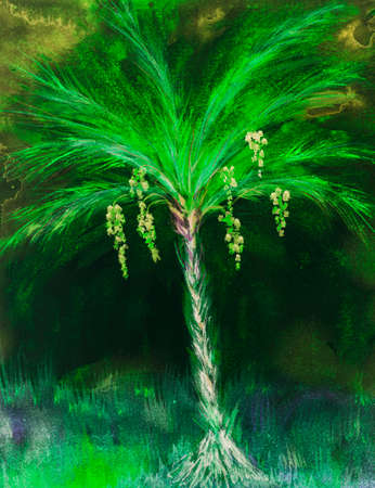 Psychedelic palm tree with dates. The dabbing technique near the edges gives a soft focus effect due to the altered surface roughness of the paper. Reklamní fotografie