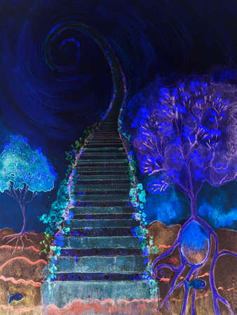 Cosmic ladder with tree of life in the blue hour. The dabbing technique near the edges gives a soft focus effect due to the altered surface roughness of the paper. Reklamní fotografie