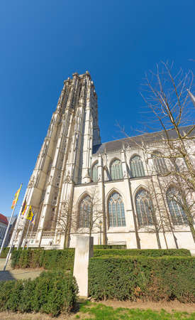 At the base of the St. Rumbold's tower, the cathedral in Mechelen