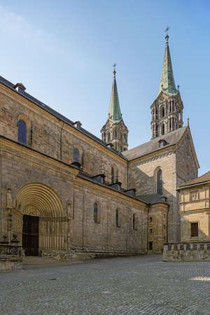 At the side facade of the Bamberg Cathedral, standing on Cathedral Square Banco de Imagens