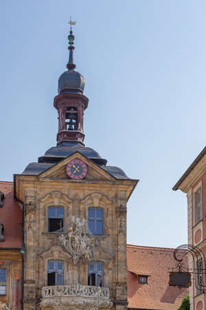 Looking up at the Old Town Hall built over the Regnitz River