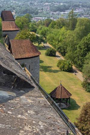 Looking down from the walls of Veste Coburg, overlooking the lower parts of the fortification