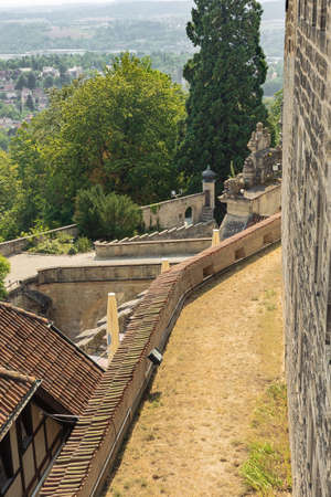 Looking down at the access bridge of Veste Coburg, overlooking the lower parts of the fortification