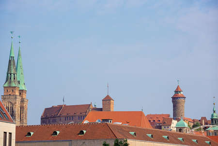 Roofs and towers of the skyline in Nuremberg Banco de Imagens