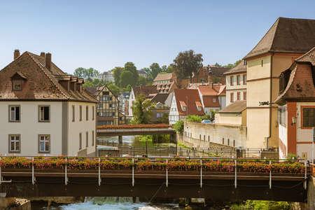 View over the Geyersworth bridge with the Regnitz river seen from the Upper Bridge Banco de Imagens