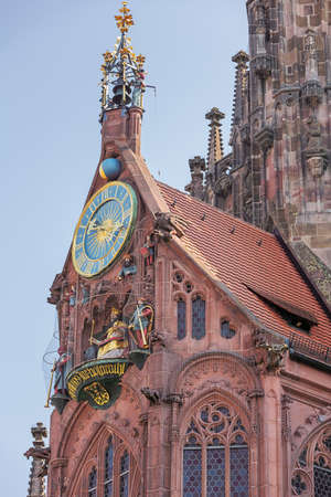View of the Church of Our Lady with the Männleinlaufen on the Market Square in Nuremberg