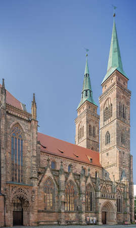 Side view of the St. Sebaldus church seen from the City Hall Square in Nuremberg