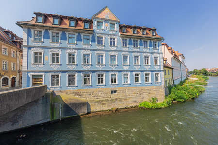 View of the Heller House next to the Lower Bridge over the Regnitz River Editorial