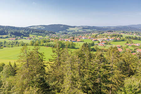 Overlooking the village of Neuschonau amidst the rolling hills at the border of the Bavarian Forest