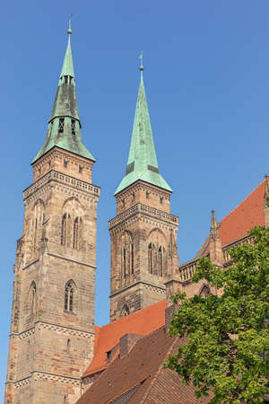 The towers of the St. Sebaldus church seen from the City Hall Square in Nuremberg