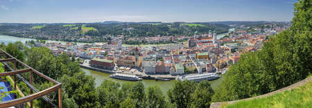 Editorial: NEUSCHONAU, BAVARIA, GERMANY, August 12, 2020 - Overlooking Passau with the Danube and the Inn seen from Veste Oberaus