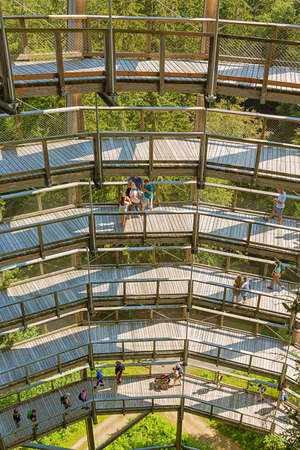Editorial: NEUSCHONAU, BAVARIA, GERMANY, August 12, 2020 - Inside view of the observation tower on the treetop walk at Neuschonau in the Bavarian Forest Editorial