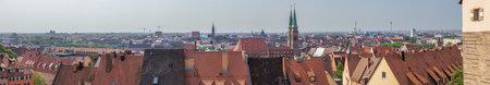 Editorial: NUREMBERG, BAVARIA, GERMANY, August 11, 2020 - The skyline of Nuremberg seen from the Nuremberg Castle