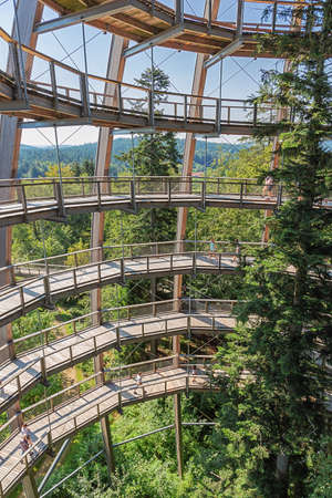 Editorial: NEUSCHONAU, BAVARIA, GERMANY, August 12, 2020 - Looking at the tree in the center of the observation tower on the treetop walk at Neuschonau in the Bavarian Forest