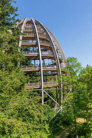 Editorial: NEUSCHONAU, BAVARIA, GERMANY, August 12, 2020 - The observation tower in the middle of the forest at the treetop walk near Neuschonau in the Bavarian Forest
