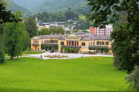 Editorial: BAD ISCHL, UPPER AUSTRIA, AUSTRIA, August 14, 2020 - The imperial villa with Bad Ischl in the background seen from the hill in front of the villa Editorial