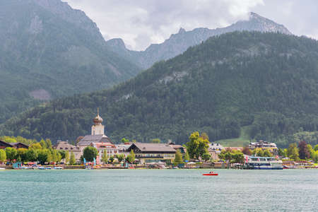 Editorial: STROBL, UPPER AUSTRIA, AUSTRIA, August 14, 2020 - View of Strobl and Lake Wolfgang seen from the Burglstein path