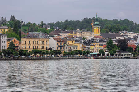 Editorial: GMUNDEN, UPPER AUSTRIA, AUSTRIA, August 14, 2020 - View of Gmunden seen from the nearby lake castle Editorial