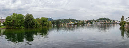 Panorama view of Gmunden and the castle of Orth, seen from the access bridge