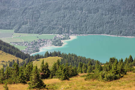 St. Gilgen and Lake Wolfgang, seen from the Schafberg Archivio Fotografico