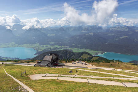 Editorial: ST. WOLFGANG, UPPER AUSTRIA, AUSTRIA, August 16, 2020 - The mountain station of the Schafbergbahn with Lake Wolfgang in the background